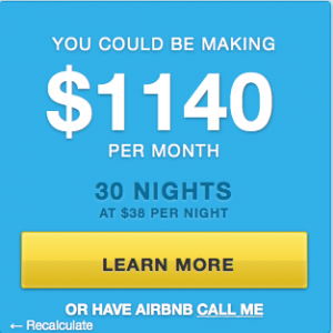 Calculation of how much you can use hosting with Airbnb