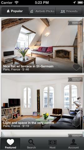Airbnb iPhone Application Screenshot