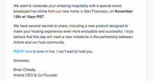 Airbnb invitation for special host event 2013