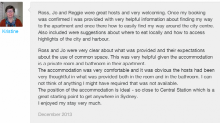 screen capture of an airbnb review
